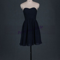 2014 short navy blue chiffon bridesmaid dresses,simple dress for wedding party,cheap sweetheart prom gowns,affordable bridesmaid gowns.