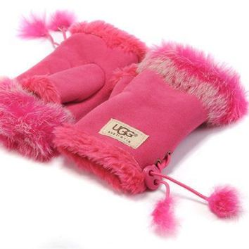 UGG Gloves Winter Women Mittens Velvet Fur Gloves