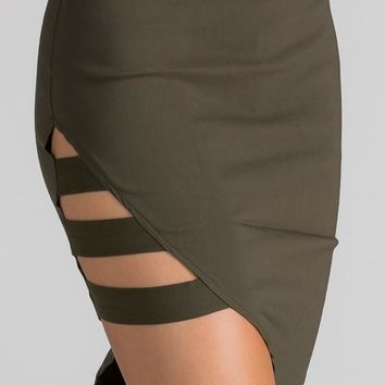 """peek show"" unbalanced bodycon skirt"