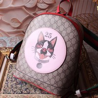 GUCCI WOMEN'S LEATHER EMBROIDERY BACKPACK BAG