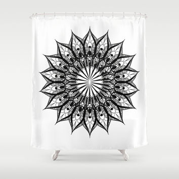 Curtains Ideas black shower curtain with white flower : Best Black Flower Shower Curtain Products on Wanelo