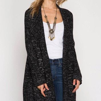 Open Cardigan Sweater W/ Roll Up Sleeve