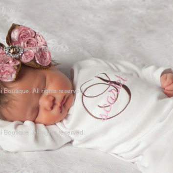 Baby Girl Infant Gown or Bodysuit and Rosette Hair Bow with Rhinestone - Chocolate Brown and Pink Monogram - Newborn thru 12 months