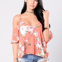 Floral Fusion Top - Coral