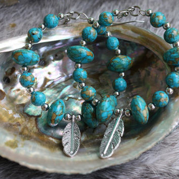 Mosaic Turquoise Earrings Feather Dangle Earrings Huge Hoop Earrings Statement Jewelry
