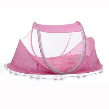 Travel Baby Bed Crib Folding Mosquito Net Infants Insect Netting Cotton Pillow Pad Mat Portable Cushion Mattress Canopy Tent