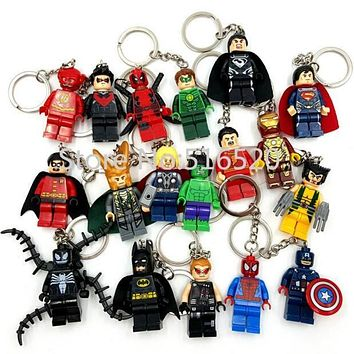 Starwars Marvel Avengers Captain America Ironman Spiderman Deadpool Darth Vader Superman Batman With Legoes Keychain Mini figure