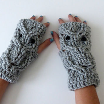 Fingerless Owl Mittens Crochet Owls texting Gloves Adult Teens Kids Christmas Gift Fingerless Mittens Wrist Warmers Winter Accessories