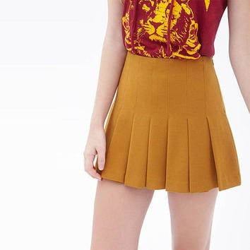 Orange High Waist Pleated Mini Skirt