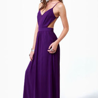 LULUS Exclusive Rooftop Garden Backless Purple Maxi Dress