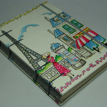 A day in Paris Fabric Journal Handmade Coptic by BBhandmades