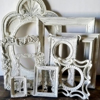 Shabby Chic Picture Frame Set Of 9 Cream White Wall Decor
