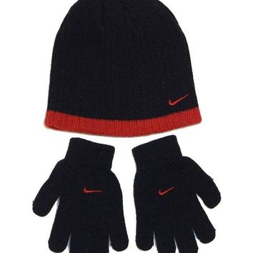 DCCKLO8 Nike Boy`s Knit Beanie & Gloves Set