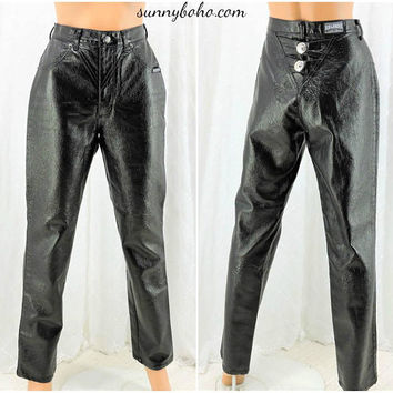 Faux leather pants / 28 X 31 size 5 / 6 / 80s rocker black pants / high waisted jeans / pleather jeans / roughrider high waist black pants