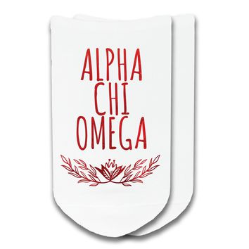 Alpha Chi Omega - Watercolor Laurel No-Show Socks