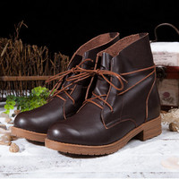 Womens Handmade Leather Martin Boots,New Winter Boots /Leather Shoes / Geniune Leather Boots, Brown/Black Boots