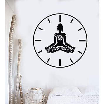 Vinyl Wall Decal Yoga Time Lotus Meditation Pose Zen Flowers Stickers Mural (g2614)
