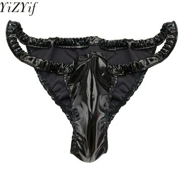 YiZYiF Sexy Gay Mens Loose Soft Shiny Spandex & Latex Rubber Briefs Underwear Sexy Mens Bull like Lingerie Briefs Underpants