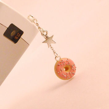 doughnut dust plug - i phone accssories - miniature food - polymer clay food - phone charm
