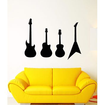 Vinyl Wall Decal Electric Guitars Player Rock Star Musician Stickers (2994ig)