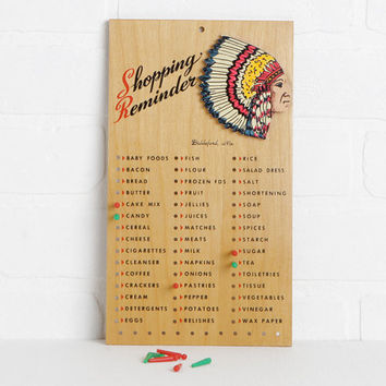 Vintage Wood Shopping List Reminder Board, Retro Mid Century Kitchen Pegboard Grocery List with Native American Chief, Kitchen Wall Hanging