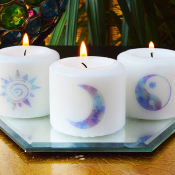Sun, Moon, Truth Meditation Candles, Bohemian Votives, Hippie Candles, Meditation, Bohemian decor, Hippie decor,
