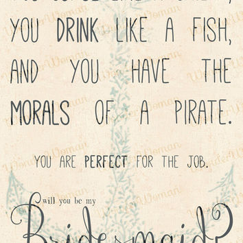 Curse Like A Sailor, Drink Like A Fish... Bridesmaid Invitation!