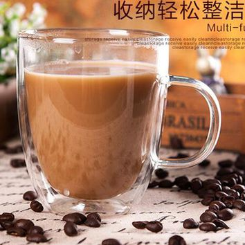 Double wall glass heat resistant mug