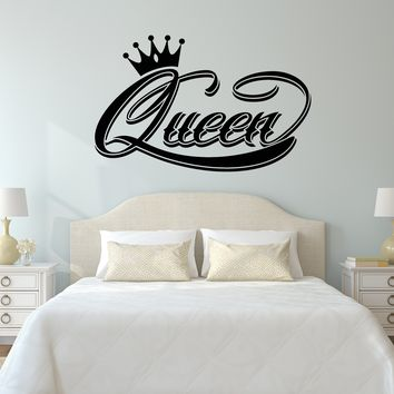 Vinyl Wall Decal Queen Word Crown Logo For Girls Women Stickers Unique Gift (2050ig)