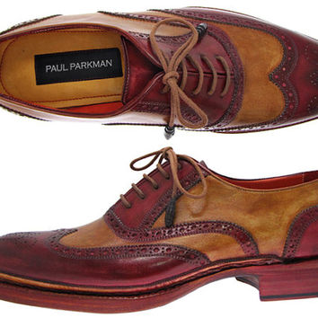 Paul Parkman Men's Triple Leather Sole Wingtip Brogues Bordeaux & Camel Oxford Shoes