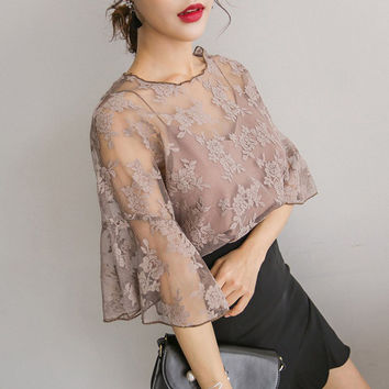 Women Blouse Sexy Lace Crochet Boho Casual Beach Bikini Cover Up Blouses Shirt Tops Cheap Clothes China