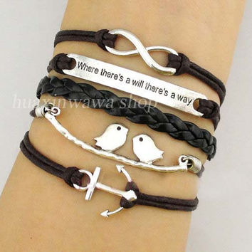 Infinity and Motto (where there's a will there's a way) bracelet,bird bracelet,anchor jewelry,friendship gift