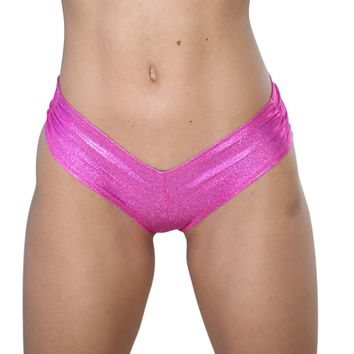 Hot Pink Cheeky Booty Shorts Holographic Rave Wear