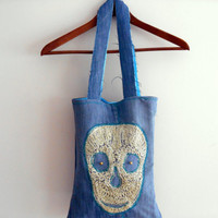 Mother's Day Bags, Skull Bag, Applique Handbags, Women Handbags Fashion, Handbags Handmade, Girl Bag, Recycle Bag