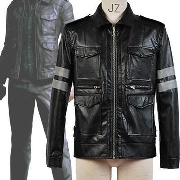 Resident Evil Movie Game Cosplay Leon Scott Kennedy Leather Jack 8e5267201005