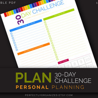30Day Challenge, Habit Yoga Fitness Checklist, Goal Workout Calendar Planner || Colorful, Planner Organizer DIY || Household PDF Printables