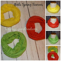 GIRLS Spring Apple Green, Lemon Yellow, and Tangerine Orange Crochet Hacci Sweater Knit Infinity Scarf Easter Photos Girls Accessories