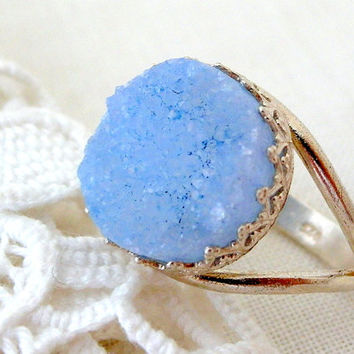 Aqua blue Druzy ring, Light chalcedony blue druzy ring, Gemstone ring, silver ring, Bridal ring, bridesmaid gift, Cocktail ring 14mm stone