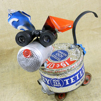 robot dog sculpture - TETLEY - found object assemblage - Reclaim2Fame