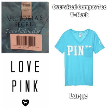 Victorias Secret Pink Oversized Campus V-Neck Tee