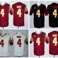 FSU College 4 Dalvin Cook Jersey Red Black White Florida State Seminoles Dalvin Cook Football Jerseys Team Color All Stitched High Quality