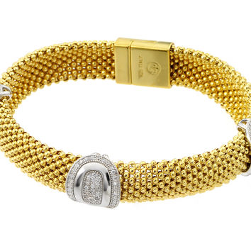 .925 Sterling Silver Gold Plated Micro Pave Round Oval Clear Cubic Zirconia Beaded Italian Bracelet: SOD