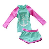 Baby Girls Swimming Suit Long Sleeve Two Piece Kids Toddler Beach Wear Swimwear Trunks with Swimming Cap