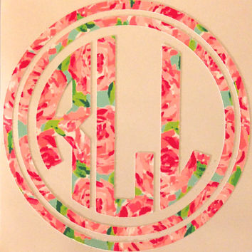 Lilly Pulitzer Circle Monogram Decal