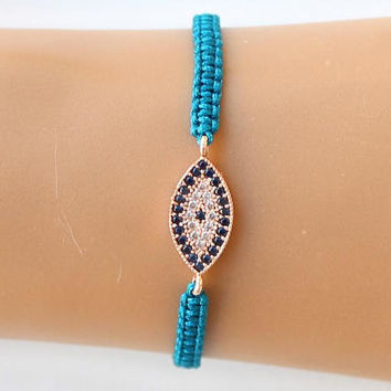Evil eye bracelet, rose gold evil eye, zircon jewelry, christmas gift, arabic, dubai, dainty jewelry, best friend gift, mother gift