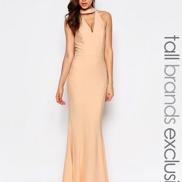 Jarlo Tall Cut Out Tie Neck Maxi Dress