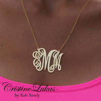 Monogram Necklace -  Small To Large Initials (Order Your Initials) -  24K gold with Sterling SIlver