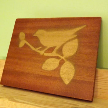Exotic Wood Wall Plaque Bird Wall Art; Saepela Wood, Gold Hand Painted,