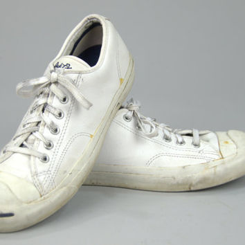 Vintage Converse Jack Purcell White Leather Tennis Shoes Womens 7.5