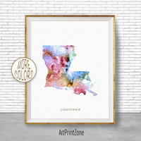 Louisiana Print Louisiana Art Print Louisiana Decor Louisiana Map Art Print Map Artwork Map Print Map Poster Watercolor Map ArtPrintZone